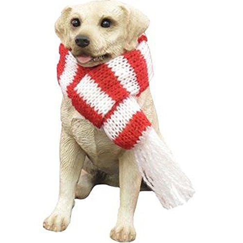 Sandicast Labrador Retriever, Yellow, Sitting with Red & White Scarf – Christmas Holiday Ornament (XSO13013)