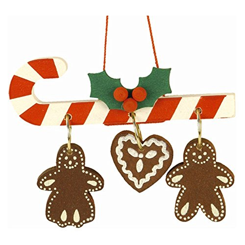 "10-0438 – Christian Ulbricht Ornament – Candy Cane with Hanging Gingerbread Cookies – 2″""H x 2.75″""W x .25″""D"