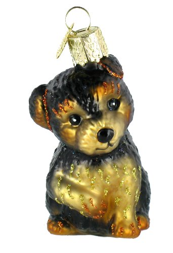 Old World Christmas Yorkie Puppy Glass Blown Ornament