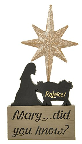 Mary Did You Know Silhouette 7 x 4 Resin Stone Christmas Nativity Sign Figurine