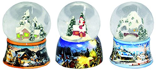 20082 3 different Snow Globes Winter Christmas Mountain Santa 3.3 Inch.