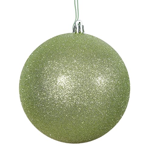Vickerman N591054DG Glitter Ball Ornaments with Shatterproof UV Resistant, Pre-drilled cap Secured & 6″ of Green Floral Wire in 6 per bag, 4″, Celadon