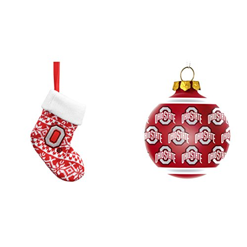 NCAA Ohio State Buckeyes ORNAMENT STOCKING KNIT Repeat Glass Ball Christmas Ornament Bundle 2 Pack By Forever Collectibles