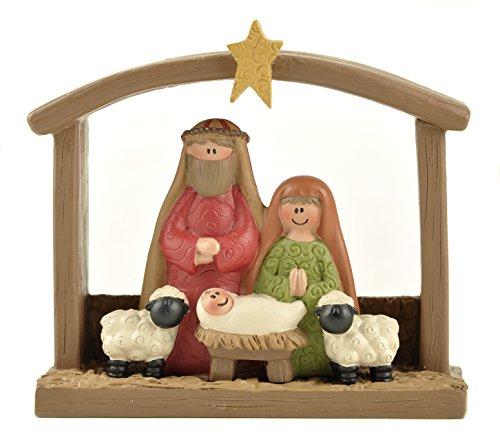 Holy Family and Sheep 4 x 4 Resin Stone Christmas Nativity Figurine Ornament