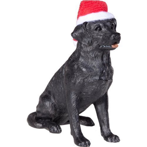 Sandicast Black Labrador Retriever with Santa Hat Christmas Ornament by Sandicast