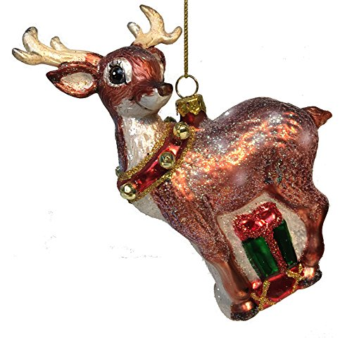 December Diamonds Blown Glass Ornament – Deer and Gift