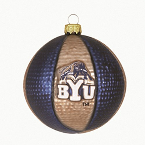 Brigham Young Glass Basketball Ornament