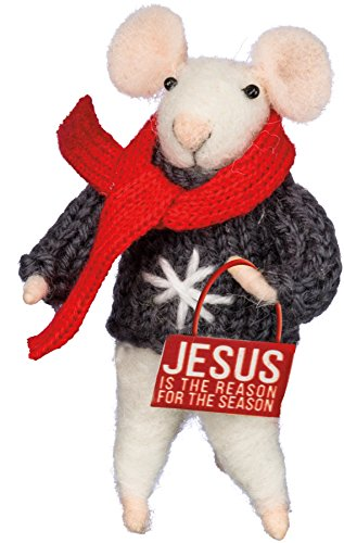 Primitives by Kathy Felt Mouse with Jesus Is The Reason For The Season Sign