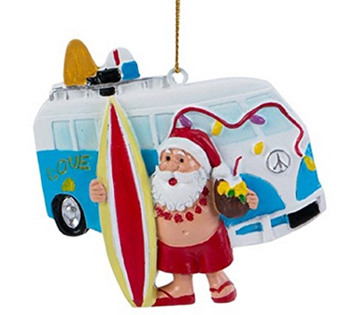 Santa with Surfing Van Christmas Ornament