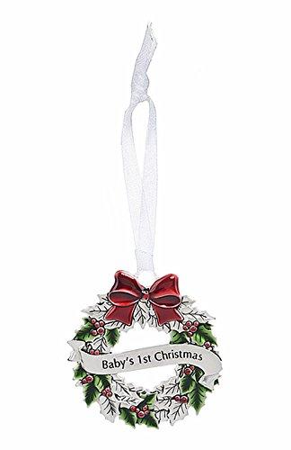 Ganz 2″ Zinc Epoxy Holly Wreath Ornament – Baby's 1st Xmas