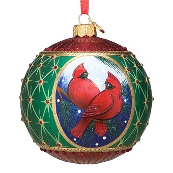 Reed & Barton Blown Glass Christmas Ornament Cardinal Ball Gift Boxed
