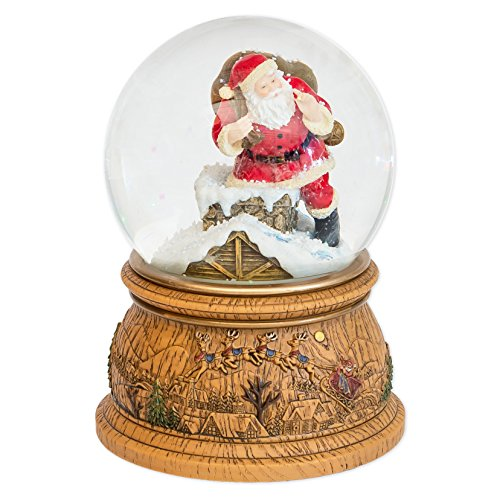 MusicBox Kingdom Snow Globe with a Rotating Scene where Santa is Climbing in a Chimney with His Gift Bag Plays a Christmas Tune Decorative Item