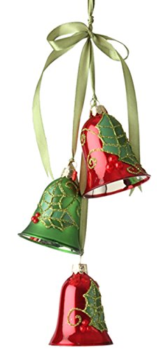 Raz 14″ Holly Bell Cluster Christmas Ornament