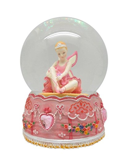 Lightahead 100MM ANGEL BALLERINA Music Water Snow Globe Ball with Inside Figurine Rotating playing tune Table Top Decoration (Ballerina Sitting)