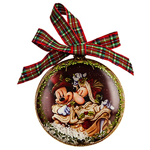 Disney Mickey and Minnie Mouse Victorian Glass Ornament