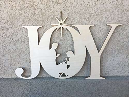 Large Joy with Nativity Christmas Wall Decoration, 17.8×11.55 inches