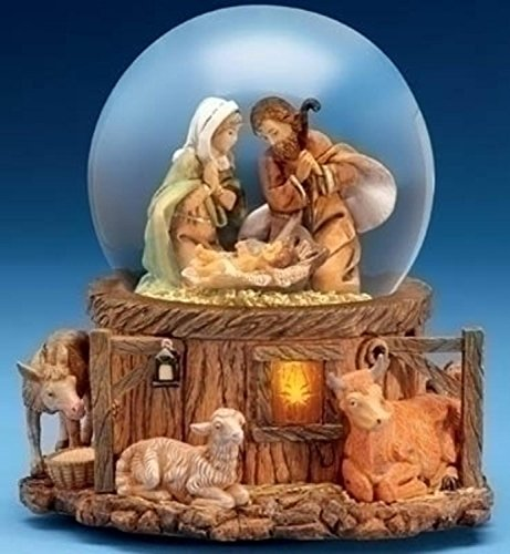Roman 7.5 inch Musical Lighted Fontanini Nativity Stable Scene Christmas Glitterdome Snow Globe