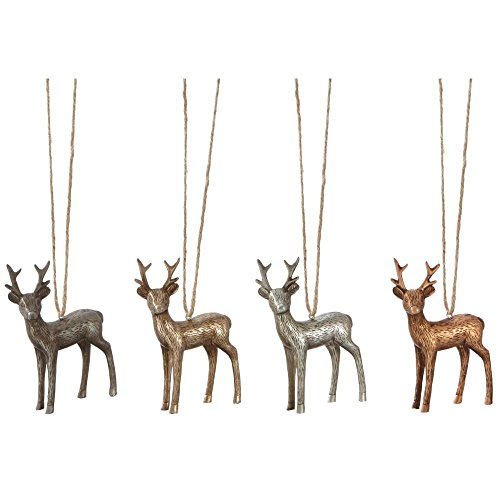 3 in. Etched Metallic Deer Christmas Ornaments (Set of 4)
