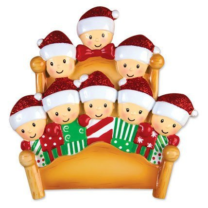 Bed Heads Family of 8 Personalized Christmas Tree Ornament