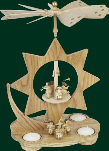 Natural Wood Star Christmas Tealight Pyramid Musician Angels, 12 Inches