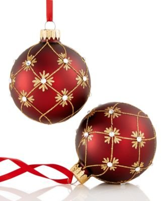 Holiday Lane Set of 2 Burgundy with Gold Glitter and Swirl Burst Ornaments