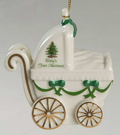 Spode Baby Carriage Christmas Ornament Dated 2015