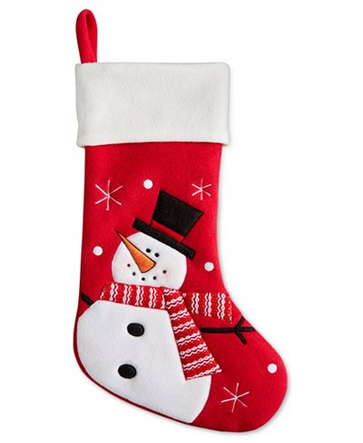 Holiday Lane 20″ Felt Premium Quality Snowman Color-blocked Stocking