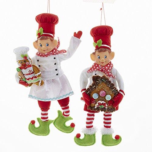 Kurt Adler 12″ Stuffed Elf Chef with Gingerbread2 Assorted