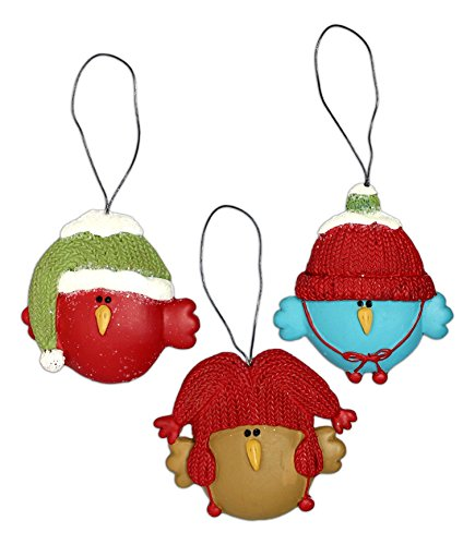 Set of 3 Birds with Hats Ornaments