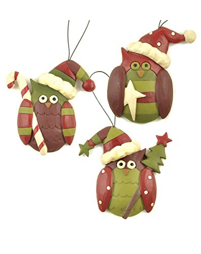 Set of 3 Owls W/Candy/Star/Tree Ornaments