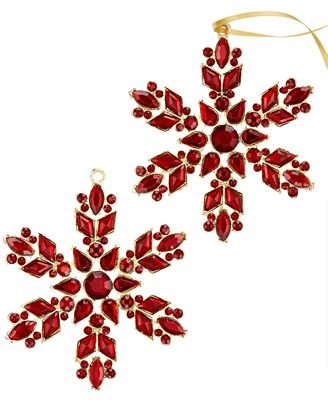 Holiday Lane Set of 2 Red Snowflake Ornaments