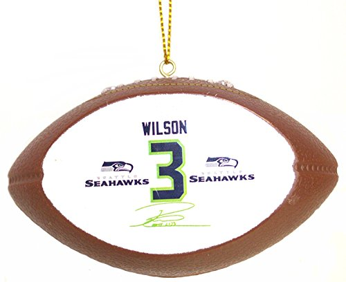 Offically Licensed Russell Wilson Signature Replica Football Ornament
