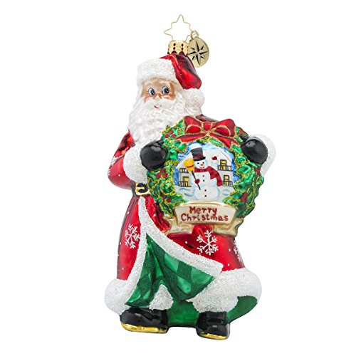Christopher Radko Yuletide Treasure Santa Wreath Christmas Ornament