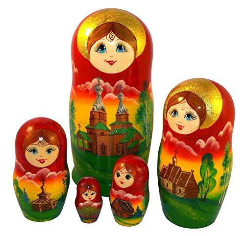 Matryoshka Summer Landscape 5-Piece Set – Russian Wooden Nesting Doll – 100% Handmade Gift
