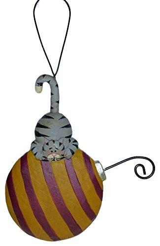 Blossom Bucket Festive Grey Tabby Cat on Striped Ball Resin Ornament