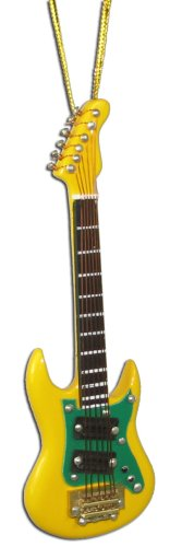 Miniature Yellow Electric Guitar Christmas Ornament 4″