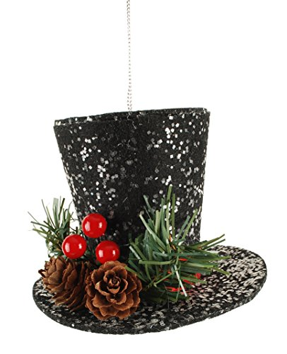 Snowman Top Hat with Holly Berry 4 x 4 inch Christmas Ornament Figurine