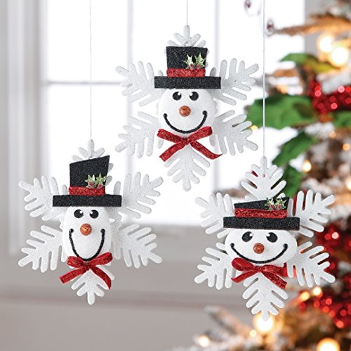 RAZ – Glittered Snowman Head Snowflake Ornaments – 8″ – Set of 3