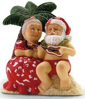 Hawaiian Christmas Ornament Serenading Santa