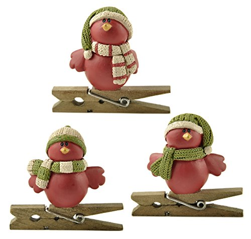 Red Cardinals on Clothespins 3 x 3 inch Christmas Figurine Decorations Set of 3