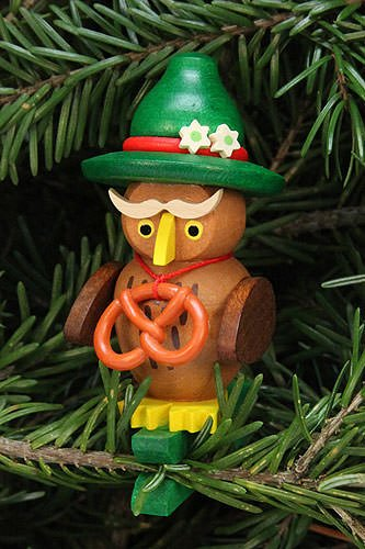 Tree ornaments Tree ornament owl Bavarian on clip – 4,8×7,3cm /1.9×2.9inch – Christian Ulbricht