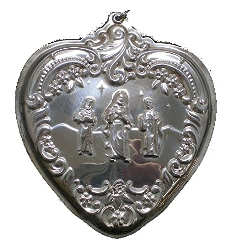 2002 Wallace Heart with Three Kings Sterling Christmas Ornament 10th Edition