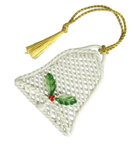 Belleek 4310 Basket Ornament Basket Bell Ornament, 2.6-Inch, Ivory