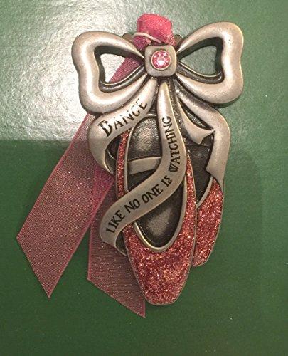 Pewter Ballet Slippers Swarovski Ornament Inspirational Saying Keepsake Ornament Decoration