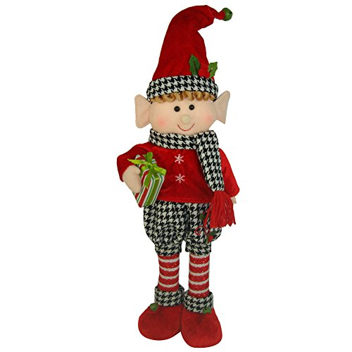 Holiday Houndstooth Standing Elf Boy, 17″