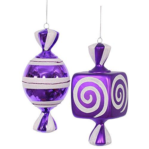 """Vickerman 8"""" Purple, White Fat Candy Ornament 2 per Box"""