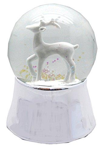 20045 Schneekugelhaus Reindeer White Snow Globe 5.5 Shiny Base & Music Box