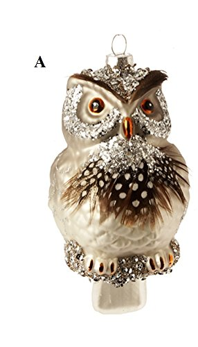 RAZ Natural Elegance 2 Owl Ornament, Choice of Style (A)