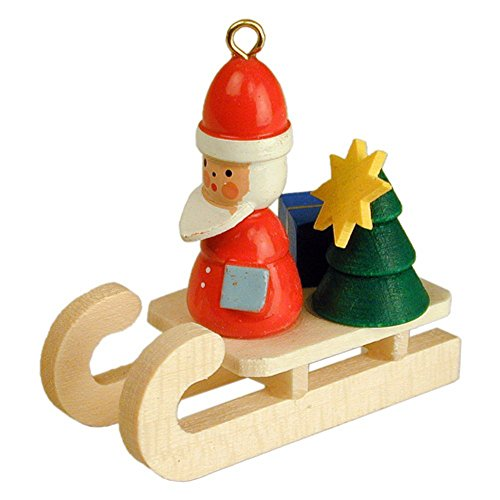 "10-0073 – Christian Ulbricht Ornament – Santa on Sleigh – 1.5″""H x .75″""W x 2″""D"