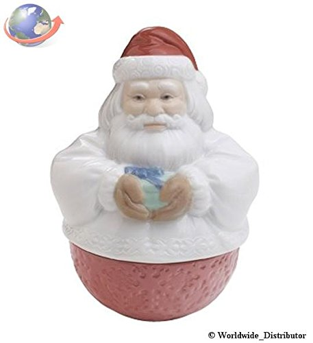 Nao by Lladro Collectible Porcelain Figurine: DECO SANTA – keepsake box – 5″ tall